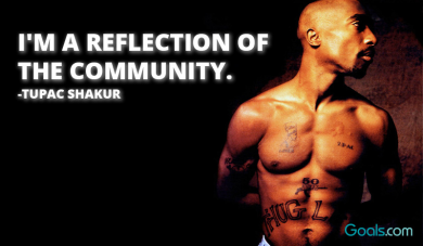 I\'m a reflection of the community. -Tupac Shakur